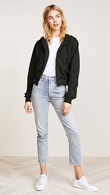 Cotton Citizen The Milan Cropped Zip Up Hoodie