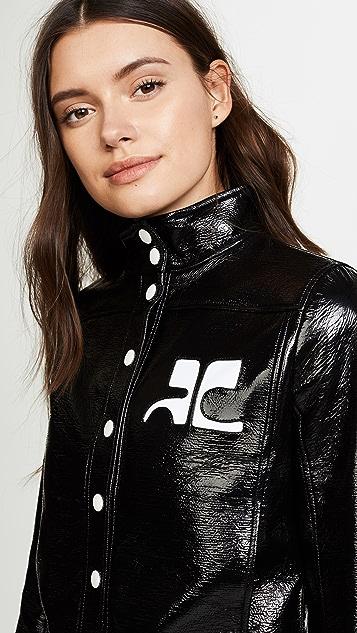 Courreges Blouson Court Vinyl Logo Blanc Jacket