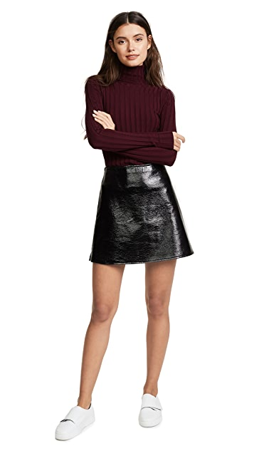 Courreges Jupe Vinyl Zip Miniskirt