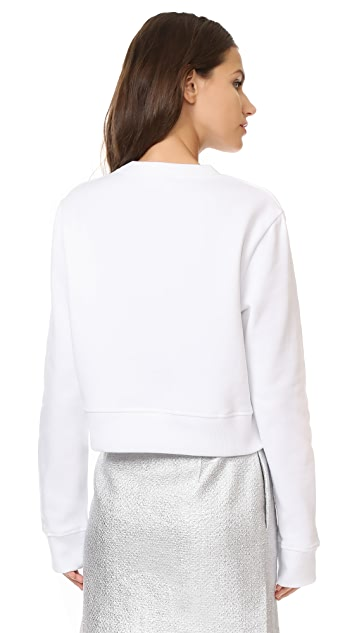 Courreges Cropped Fleece Sweatshirt