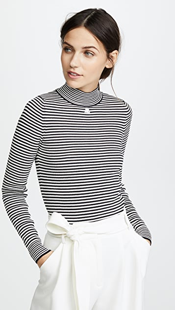 Courreges Funnel Neck Striped Pullover