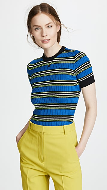 Courreges Short Sleeve Striped Top
