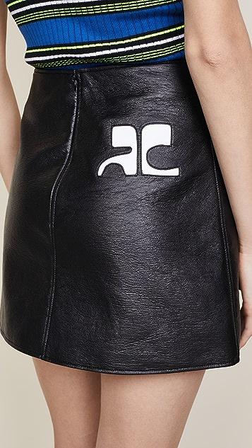 Courreges Back Logo Vinyl Miniskirt
