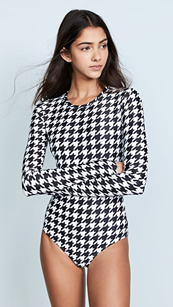 Cover Houndstooth Long Sleeve Swimsuit