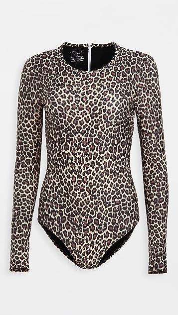 覆面 豹纹长袖泳衣