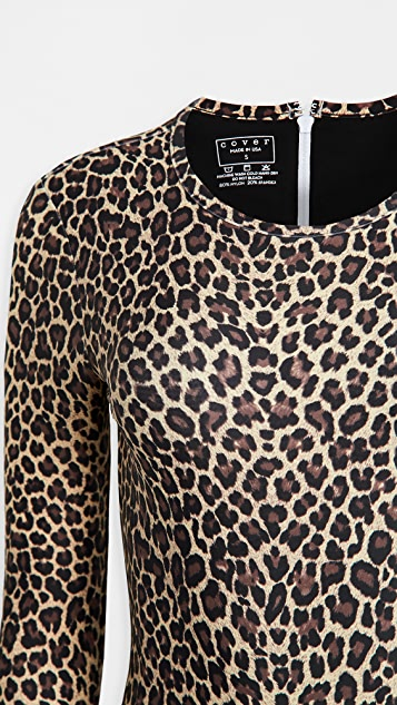 Cover Leopard Long Sleeve Swimsuit
