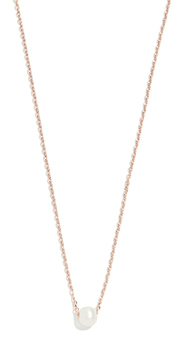 Cloverpost Freshwater Cultured Pearl Necklace - Rose Gold/Pearl