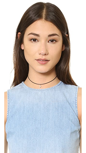 Cloverpost Leather Choker Moon Necklace