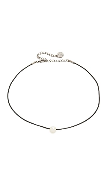 Cloverpost Freshwater Cultured Pearl Leather Choker Necklace