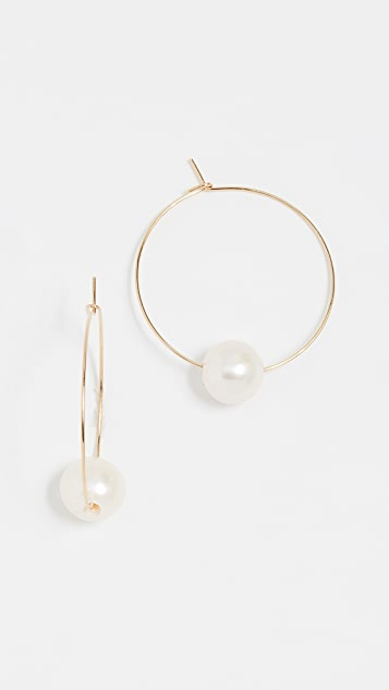 Cloverpost Freshwater Cultured Pearl Around Hoop Earrings - Yellow Gold