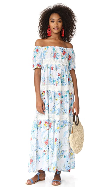 Christophe Sauvat Collection Eden Garden Off Shoulder Maxi Dress