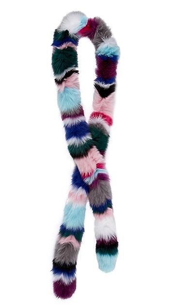 Charlotte Simone Rainbow Twist Fur Scarf