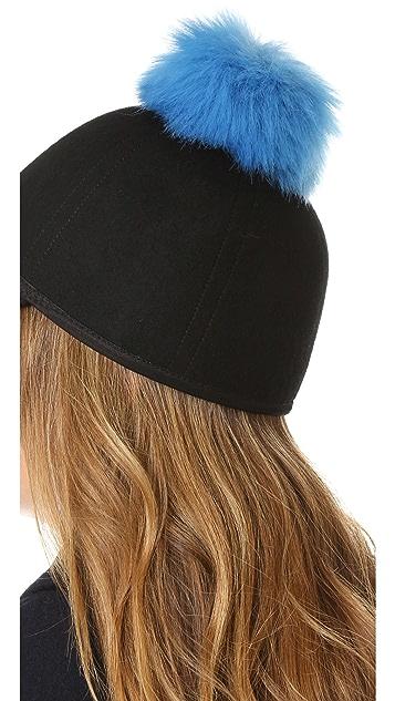 Charlotte Simone Sass Single Faux Fur Pom Cap