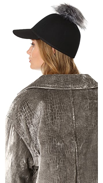 Charlotte Simone Sass Single Faux Fur Pom Cap