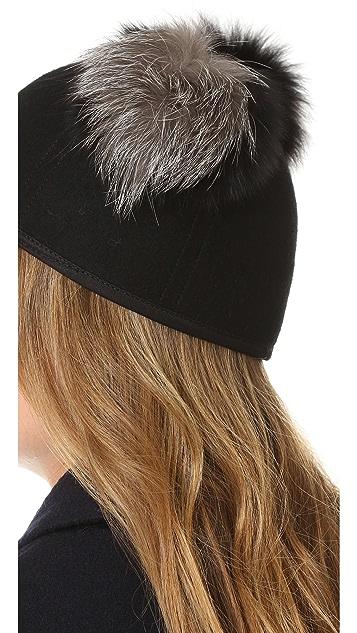 Charlotte Simone Sass Double Fur Pom Cap