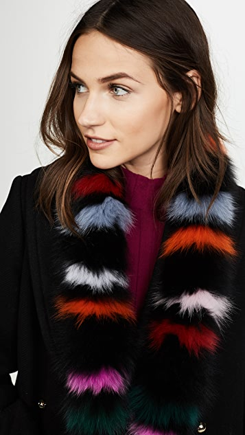 Charlotte Simone Rainbow Twist Fox Fur Scarf