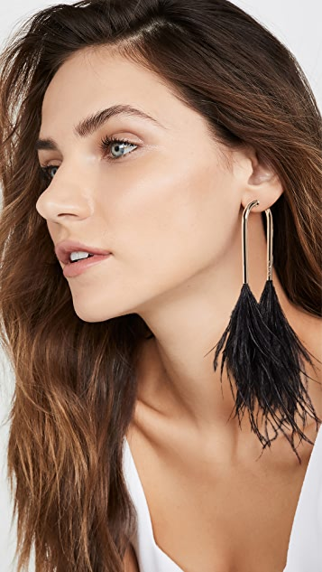 Cult Gaia Meta Feather Earrings