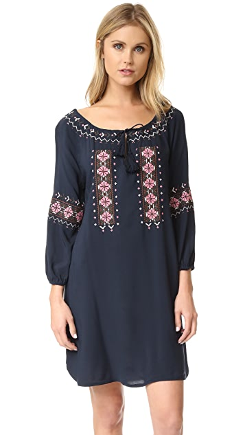 cupcakes and cashmere Teddy Embroidered Long Sleeve Dress