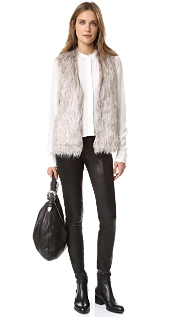 cupcakes and cashmere Rosette Faux Fur Vest