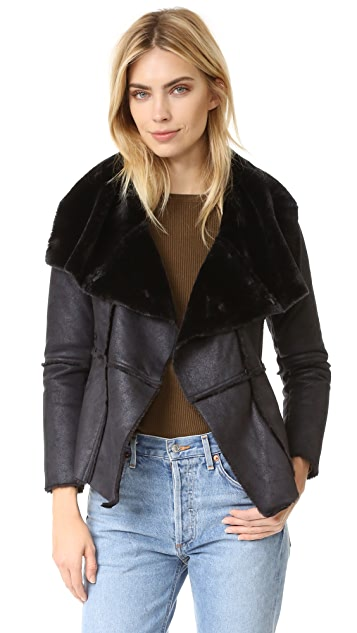 cupcakes and cashmere Rivina Faux Suede Draped Front Jacket