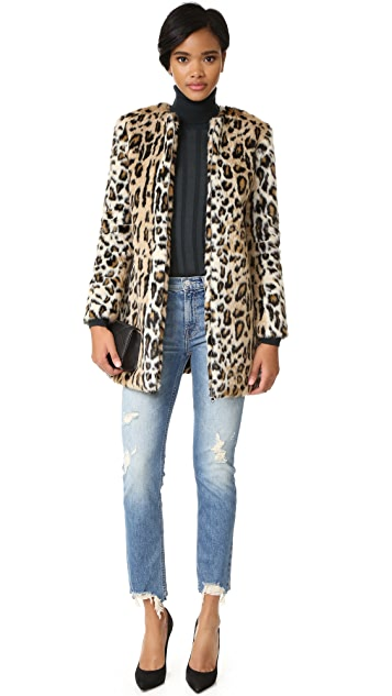cupcakes and cashmere Elvina Faux Fur Leopard Coat