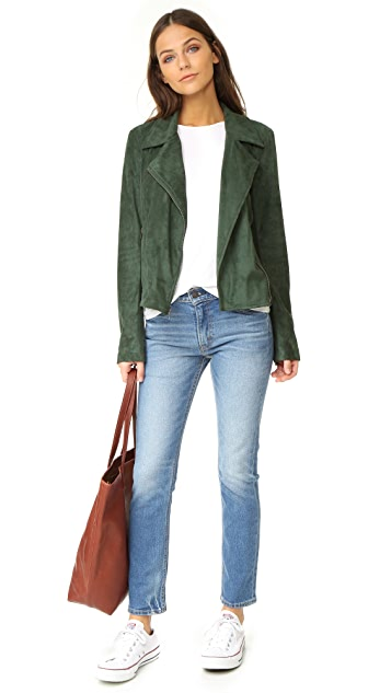 cupcakes and cashmere Darsy Faux Suede Moto Jacket
