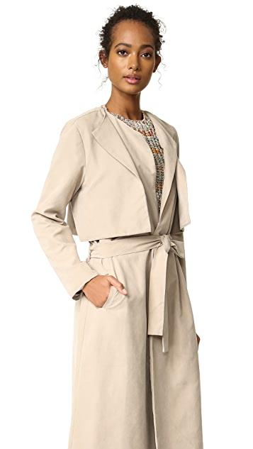 cupcakes and cashmere Alani Sueded Double Lapel Trench Coat