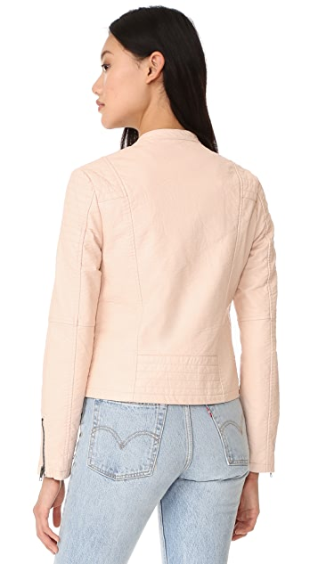 cupcakes and cashmere Dax Vegan Pebbled Moto Jacket