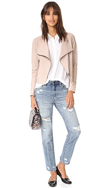 cupcakes and cashmere Collin Soft Drape Front Moto Jacket