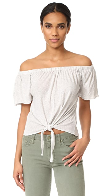 cupcakes and cashmere Kathie Off Shoulder Tie Front Top