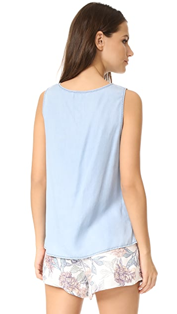 cupcakes and cashmere Janessa Chambray Tank
