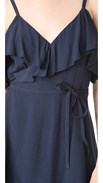cupcakes and cashmere Morena Wrap Ruffle Dress