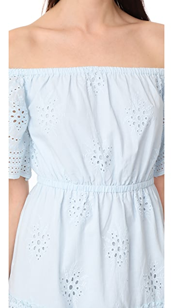 cupcakes and cashmere Sorena Eyelet Off Shoulder Dress