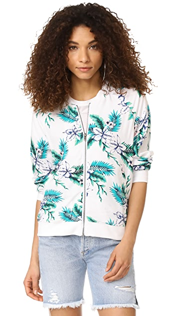 cupcakes and cashmere Anjelica Palm Print Bomber Jacket