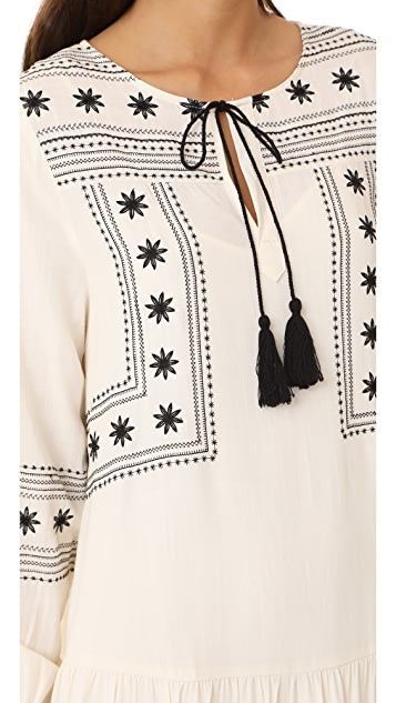 cupcakes and cashmere Vander Embroidered Drop Waist Dress