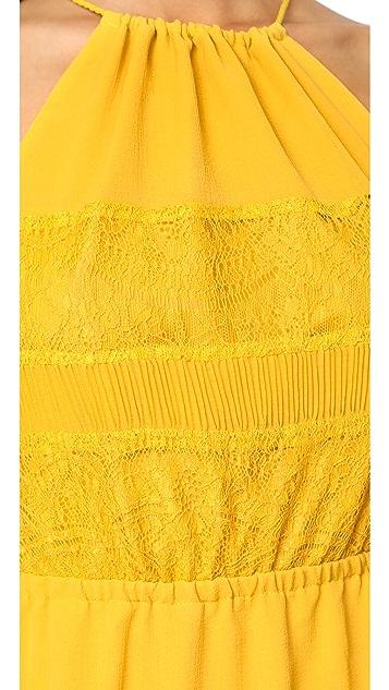 cupcakes and cashmere Tamika Pleated Trim Midi Dress
