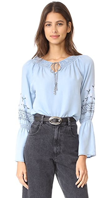 cupcakes and cashmere Kendi Embroidered Chambray Top