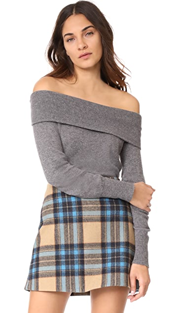 cupcakes and cashmere Roderick Cashmere Off Shoulder Sweater