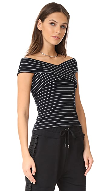 cupcakes and cashmere Lori Stripe Off Shoulder Wrap Top