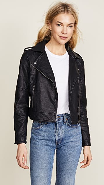 cupcakes and cashmere Burwell Vegan Leather Moto Jacket