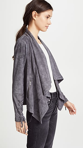 cupcakes and cashmere Brislin Faux Suede Drape Jacket
