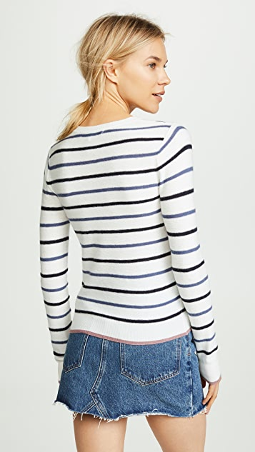 cupcakes and cashmere Koko Striped Sweater with Strawberry Patch