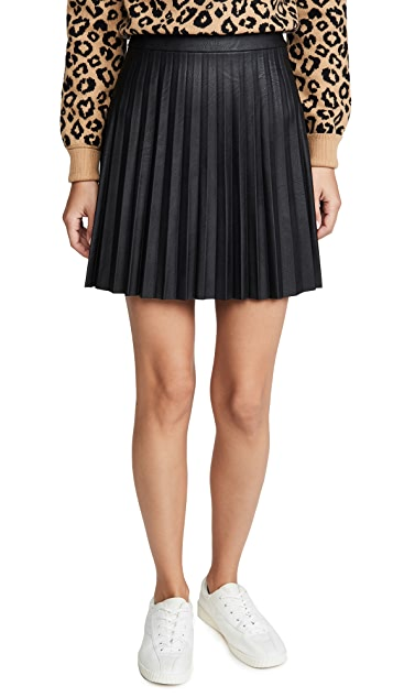 cupcakes and cashmere Cannes Faux Leather Skirt