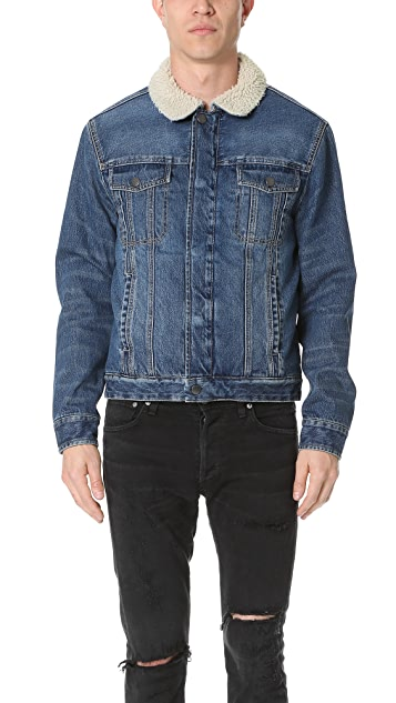 Current/Elliott Shearling Lined Denim Jacket