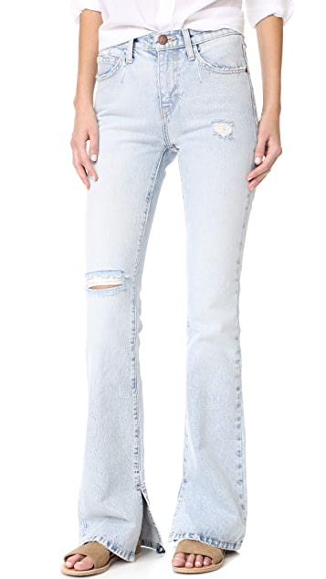Current/Elliott The High Rise Slit Boot Cut Jeans