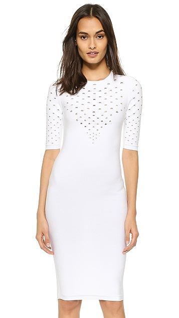 Cushnie Et Ochs Perforated V Neck Dress