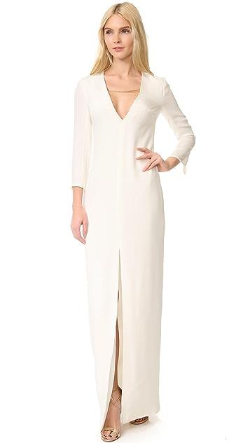 Cushnie Et Ochs Long Sleeve Plunge Gown