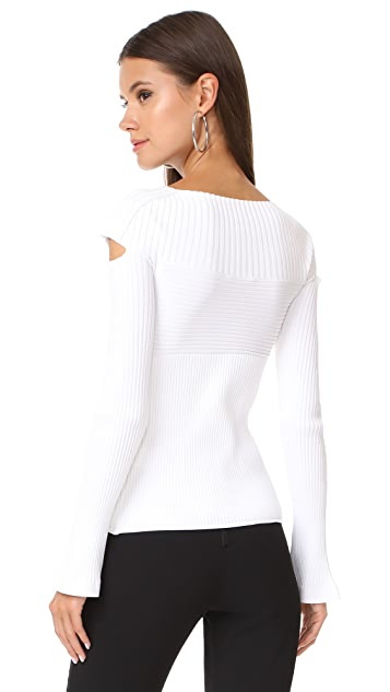 Cushnie Boat Neck Top with Cutouts
