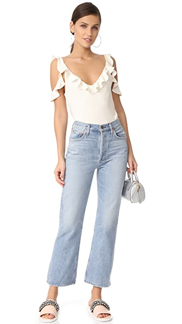 Cushnie Et Ochs Cold Shoulder Ruffle Top