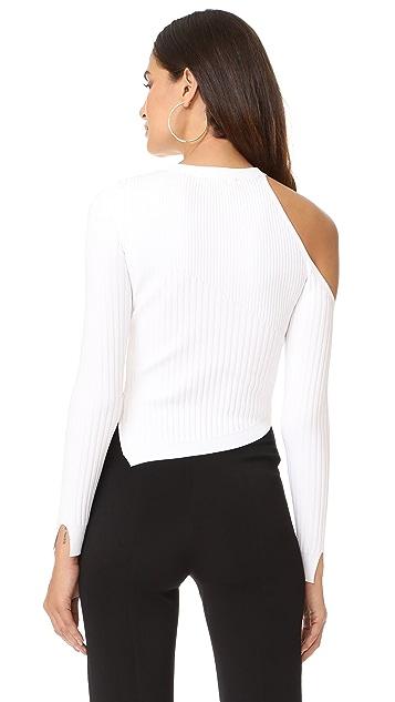 Cushnie Et Ochs Long Sleeved Single Shoulder Crop Top
